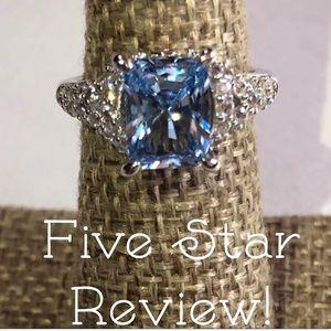 🎉 SALE! Sky Blue Topaz Emerald Cut Ring SS